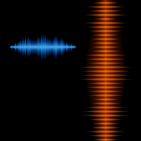 Blue and orange shiny sound waveform background with sharp peaks