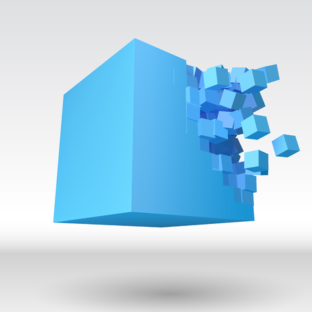 Vector 3D cube object explosion with cubical particles Stock Photo