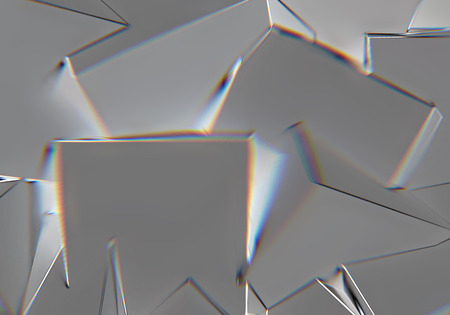 Abstract background with 3d shapes and prism color shift or abberation Stockfoto