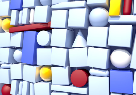 Abstract background with wall of multiple 3d shapes in 80s style Archivio Fotografico