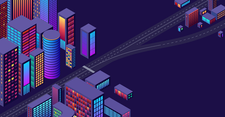 Background with concept of city and suburbs or outskirts view with isometric perspective and vibrant shiny neon colors Ilustrace