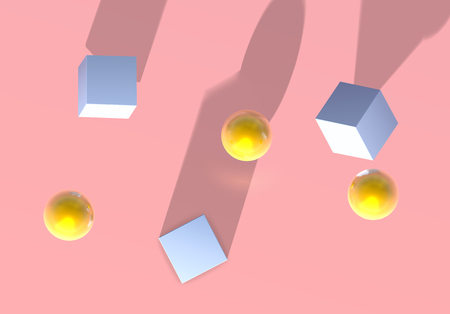 Abstract pink background with golden balls and blue cubes jumping in unusual perspective or from top view