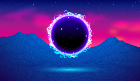 80s synthwave styled landscape with blue portal to another dimension or black electric hole and grid mountains on arcade space planet