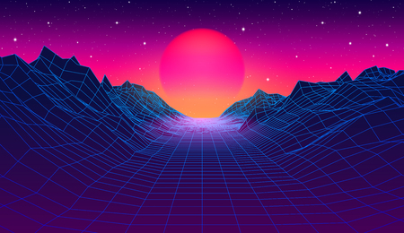 80s synthwave styled landscape with blue grid mountains and sun over arcade space planet canyon Stock Illustratie