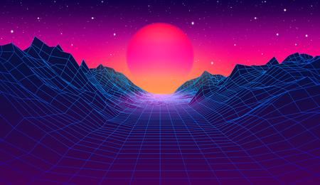 Paesaggio in stile synthwave anni '80 con montagne a griglia blu e sole sul canyon del pianeta spaziale arcade Vettoriali