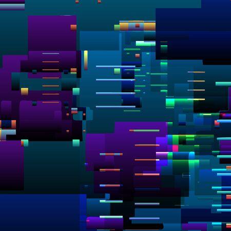 Fond abstrait de pépin avec des lignes d'erreur de pixels colorées et des défauts graphiques numériques