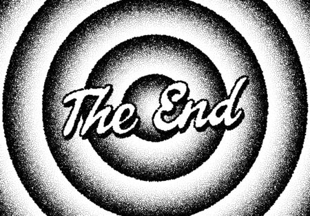 The end movie titles screen with circles and retro stipple style 일러스트