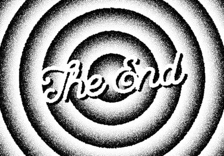 The end movie titles screen with circles and retro stipple style Illustration