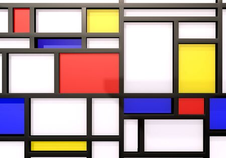 Abstract background with modernist wall or shelves in XX century art style