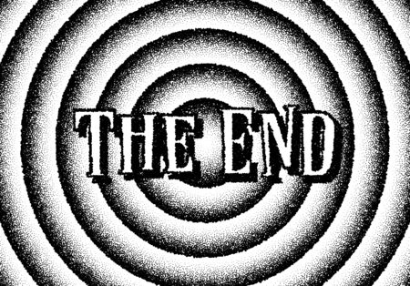 The end movie titles with circles and retro stipple style Banque d'images - 125260851