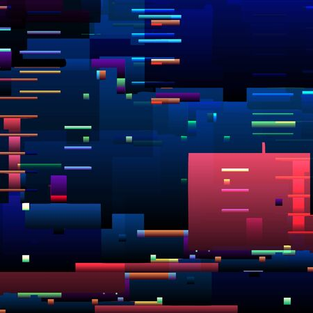 Abstract glitch background with colorful pixel error lines and graphic defects