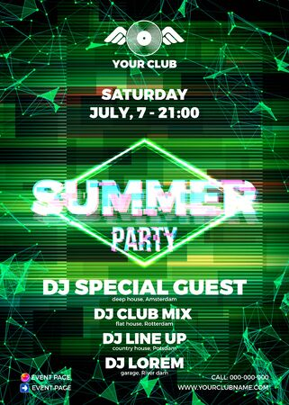 Glitch party poster with red background and ellipse for summer night rave party Illustration
