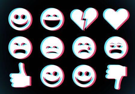 Emoji icons set with smiling face, thumbs up and heart with glitch style