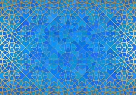 Fondo abstracto con adornos islámicos, textura geométrica árabe. Motivo de azulejos con forro dorado.