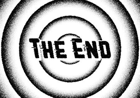 Los títulos de películas finales con círculos y estilo retro punteado. Ilustración de vector