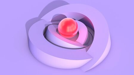 Abstract architecture background with soft ulraviolet arc shapes and shiny red core sphere with light. 3D illustration Imagens