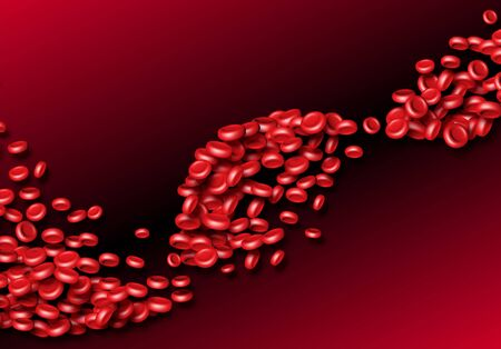 Blood cells or red erythrocites flowing in abstract scientific background with medical or health theme Stock Illustratie