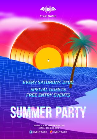 Beach party poster for clubbing dance event with 80s retro or synth wave style and palm trees