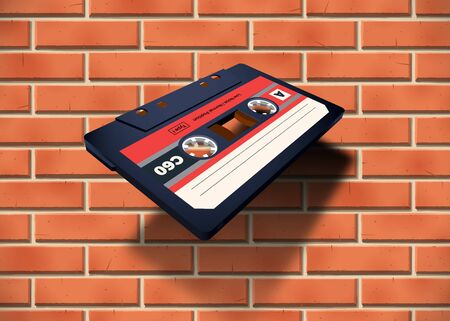 Compact cassette with C60 tape near the brick wall in perspective view for 80s styled covers, banners and party posters Illustration