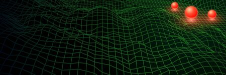 Landscape with wireframe grid of 80s styled retro computer game or science inspired background 3d structure with mysterious sphere and mountains or hills