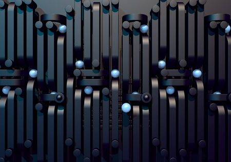 Abstract background with black square pipes and shiny metal ball
