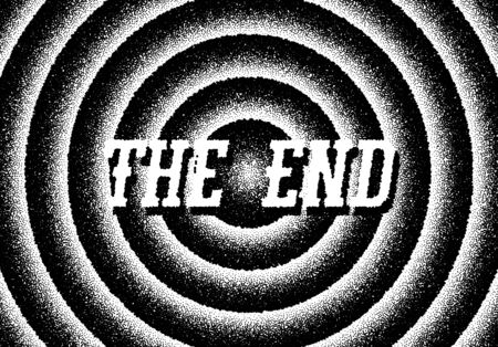 The end movie titles with circles and retro stipple style Ilustrace