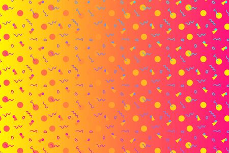 Abstract background with 80s memphis style pattern and vibrant psychedelic colors