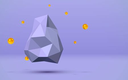 Blue 3D background with abstract flying low poly rock and golden balls around