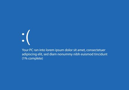 Blue screen with operating system error message Illustration