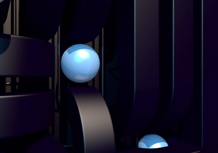 Abstract background with black square pipes and shiny metal ball. 3D illustration