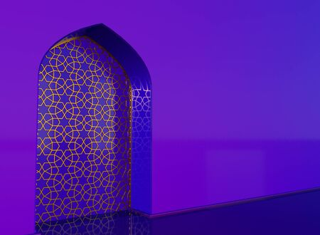 Golden arabic ornament on the purple wall with islamic door. 3D illustration 免版税图像 - 128941963