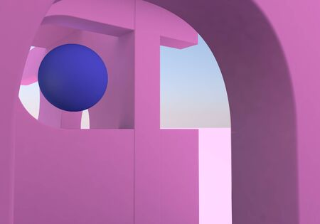 Abstract background with pink arches and ball. 3D illustration