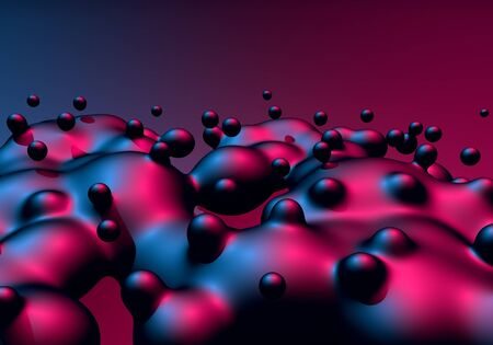 Abstract background with neon glowing boiling liquid balls or drops in motion with 80s synthwave style. 3D illustration Reklamní fotografie