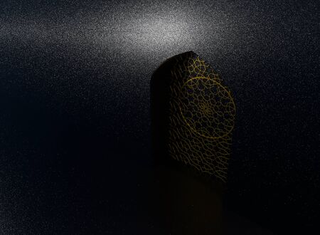 Golden arabic ornament on the black wall with islamic door. 3D illustration