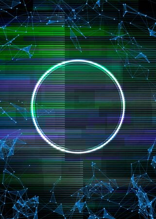 Glitch frame with technology error and neon circle Ilustrace
