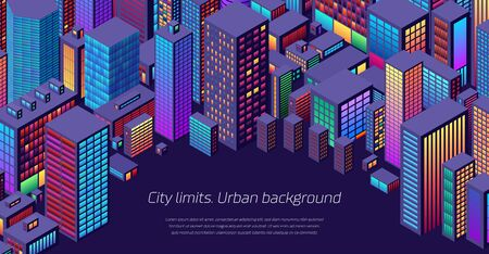 Background with city view with isometric perspective and vibrant shiny neon colors Ilustrace