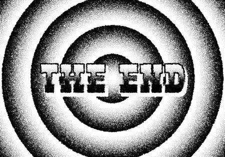 The end movie titles screen with circles and retro stipple style  イラスト・ベクター素材