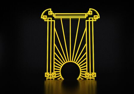 Art deco or modern abstract golden gate with vintage 1920 style