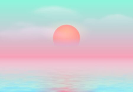 Sun over the sea with sun road and vaporwave 90s styled calm blue and pink colors Ilustrace