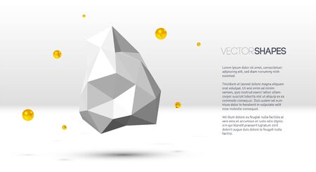 White 3D background with abstract flying low poly rock and golden balls around