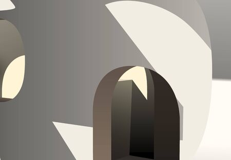 Abstract 3D construction with white walls and arches Ilustrace