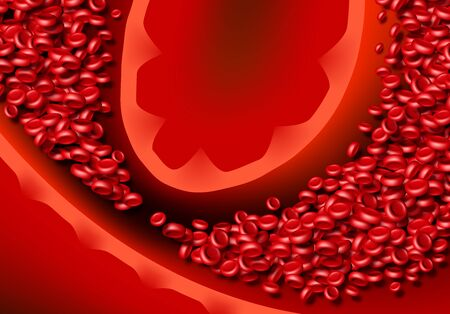 Blood cells or erythrocites flowing in abstract scientific background with medical or health theme