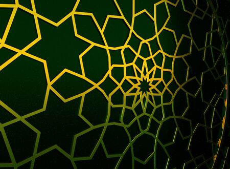 Golden arabic ornament on the green wall with islamic door