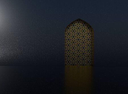 Golden arabic ornament on the black wall with islamic door Reklamní fotografie