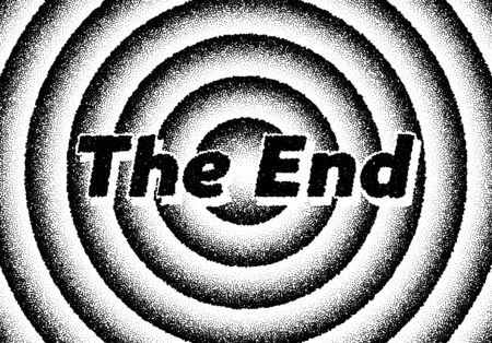 The end movie titles with circles and retro stipple style  イラスト・ベクター素材