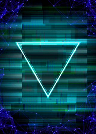 Glitch cyberpunk frame with technology error and neon shape Ilustrace