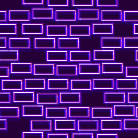 Neon seamless pattern with 80s style shiny shapes and glowing purple color