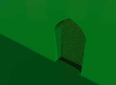 Golden arabic ornament on the green wall with islamic door. 3D illustration
