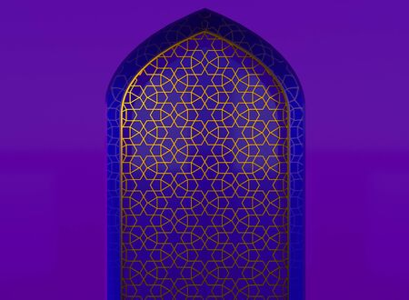 Golden arabic ornament on the purple wall with islamic door. 3D illustration