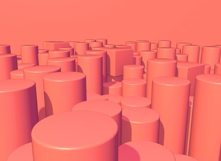 Abstract background with living coral colored pillars structure landscape